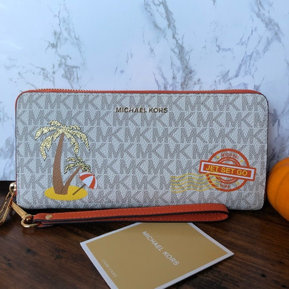 5dfeaaa21f36 Michael Kors Bags | Illustrations Palm Tree Travel Wallet | Poshmark